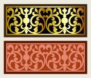 Vector uitstekende het embleemgravure van het grenskader met retro ornamentpatroon in het antieke decoratieve ontwerp van de roco Stock Foto