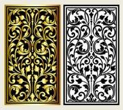 Vector uitstekende het embleemgravure van het grenskader met retro ornamentpatroon in het antieke decoratieve ontwerp van de roco Stock Afbeeldingen