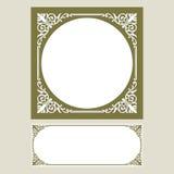 Vector uitstekende het embleemgravure van het grenskader met retro ornamentpatroon in het antieke decoratieve ontwerp van de roco Royalty-vrije Stock Afbeeldingen
