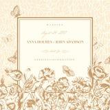 Vector uitstekende huwelijkskaart Royalty-vrije Stock Afbeeldingen