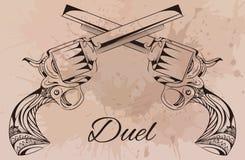 Vector uitstekende illustratie van twee revolvers Stock Afbeeldingen