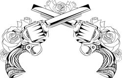 Vector uitstekende illustratie van twee revolvers met rozen Stock Afbeeldingen