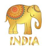 Vector uitstekende Indische die olifantsillustratie op wit wordt geïsoleerd Royalty-vrije Stock Foto's