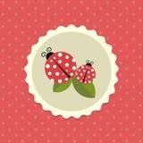Vector Uitstekende Onzelieveheersbeestjesticker op Gestippelde Illustratie Als achtergrond Royalty-vrije Stock Foto