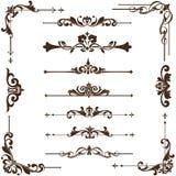 Vector uitstekende ornamenten, hoeken, grenzen Stock Foto
