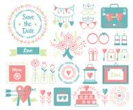 Vector uitstekende reeks decoratieve leuke huwelijkselementen en hand getrokken pictogrammenillustraties Bloemenkrabbels, bladere Royalty-vrije Stock Foto's