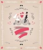 Vector uitstekende retro huwelijksuitnodiging, hand stock illustratie