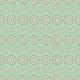 Vector uitstekende stijl bloemen volksstrepen in groen, roze en room Naadloos herhaal patroonachtergrond stock illustratie