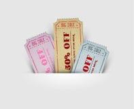 Vector uitstekende verkoopcoupons Royalty-vrije Stock Afbeelding