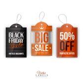 Vector uitstekende verkoopmarkeringen, etiketten, emblemen en Stock Afbeelding