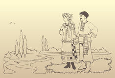 Vector ukrainian couple in national costumes Royalty Free Stock Photos