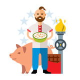 Vector Ukrainian. Industry, Livestock, traditional clothing, Confectionery, national cuisine. Flat style colorful. Man with a cup of dumplings. Pig, chocolate Stock Photography