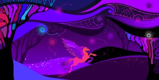 Vector Ultra violet landscape with mythology Pegasus in orange and pink. Ð¡omposition with space cloudy sky, field and trees. Vector Ultra violet landscape stock illustration
