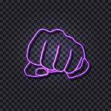 Vector Ultraviolet Color Neon Fist, Human Hand Gesturing, Sign Isolated on Dark Background. stock illustration