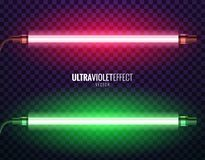 Vector of ultraviolet light. Vector image of ultraviolet lamps. Illustration of realistic light. Symbol of modern fashion. Set of different color shades Royalty Free Stock Images