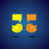 Vector um ícone de dois pássaros pequenos que comunicam-se um com o otro Fotos de Stock Royalty Free