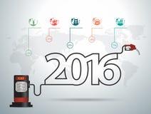 Vector um conceito de 2016 ideias do ano novo com gás do bocal da bomba de gasolina ilustração do vetor