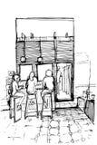 Vector um esboço de três mulheres nos tamboretes altos que bebem o café ilustração do vetor