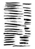 Vector um grande grupo de 35 cursos diferentes da escova de pintura da mão do grunge Imagem de Stock