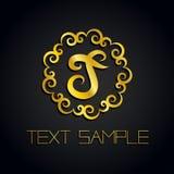 Vector um logotipo da letra do ouro ou uma etiqueta, ícone para a empresa Uso para a identidade, anúncio, alfabeto Imagem de Stock