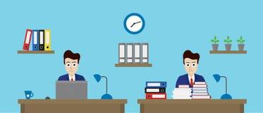 Vector uma ilustração de dois trabalhadores de escritório em um escritório com dif Imagens de Stock Royalty Free