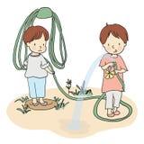 Vector uma ilustração de duas crianças que jogam com a mangueira da água na jarda ilustração stock