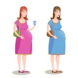 Vector uma ilustração de duas mulheres gravidas no rosa e no vestido azul Imagens de Stock