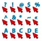 Vector uma ilustração de quatro tipos de ponteiros de rato no fundo branco Fotografia de Stock Royalty Free