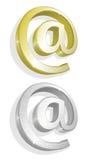 Vector uma ilustração do ouro dois e dos email de prata Fotografia de Stock Royalty Free