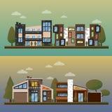 Vector uma ilustração lisa da casa de duas famílias e da rua exterior das bandeiras home doces, pavimento privado, quintal com ilustração do vetor