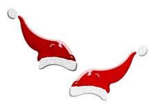 Vector uma ilustração de dois chapéus de Papai Noel Foto de Stock Royalty Free