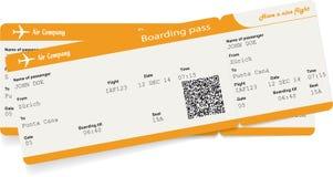 Vector uma imagem de dois bilhetes da passagem de embarque da linha aérea Fotografia de Stock
