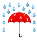 Vector umbrella and rain drops Royalty Free Stock Image