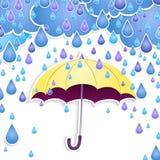 Vector umbrella and rain drops. Royalty Free Stock Image