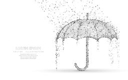 Vector umbrella rain protection. Abstract low poy umbrella cover in rain. Illustration. Isolated on white background with water fall drops. Meteorology, safety vector illustration