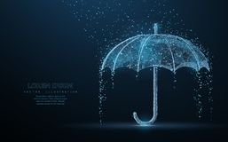 Vector umbrella rain protection. Abstract wire low poy umbrella cover in rain illustration on dark blue background with water fall drops. Meteorology, safety vector illustration