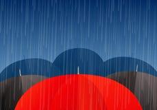 Vector umbrellas and rain drops Royalty Free Stock Image