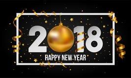Vector un fondo da 2018 buoni anni con la bagattella dorata della palla di natale e barrato gli elementi Immagine Stock Libera da Diritti