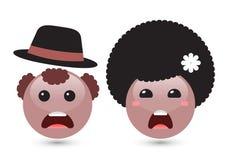 Vector un'illustrazione di due emoticon marroni sorridente svegli su bianco Fotografie Stock Libere da Diritti