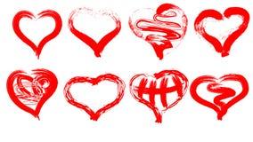 vector un'immagine di otto cuori rossi dipinti dalla spazzola spazzola del cuore Immagini Stock Libere da Diritti