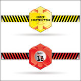 Vector Under Construction & 18+ age limit label. Vector Modern Under Construction & 18+ age limit label Stock Image