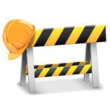 Vector Under Construction Barrier with Helmet. On white background Stock Images