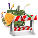 Vector Under Construction Concept with Barrier Stock Photography