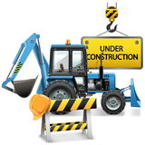 Vector Under Construction Concept with Tractor Stock Image