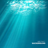 Vector under water background. Design template. Blue deep sea Stock Photography