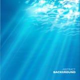 Vector under water background. Design template. Blue deep sea Stock Photos