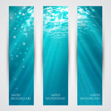 Vector under water banners set. Blue deep sea Stock Photo