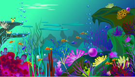 Vector Undersea world with fish. Different seaweeds and a big pearl Stock Photos