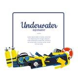 Vector underwater diving elements vector illustration