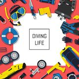 Vector underwater diving equipment background with white square and place for text. Sport diving equipment for swimming, flipper and snorkeling, oxygen and Stock Photos